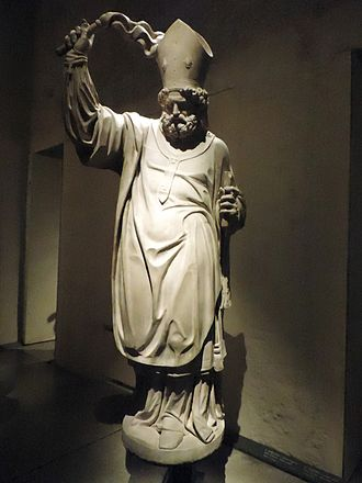 Ambrose - Statue of Saint Ambrose with a scourge in Museo del Duomo, Milan. Unknown Lombard author, early 17 century.
