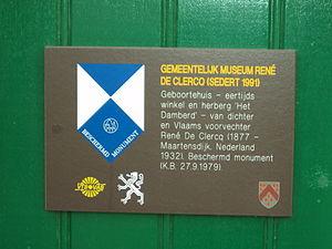 Heritage registers in Belgium - Image: Museum geboortehuis René De Clercq Deerlijk 3