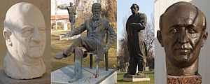 Bulgarian Communist Party - Sculptures of the communist Bulgarian leaders in the Museum of Socialist Art in Sofia:  Vasil Kolarov, Dimitar Blagoev, Georgi Dimitrov and Todor Zhivkov