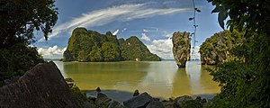 Phang Nga Province - Mushroom Rock Island and Ko Tapu (James Bond Island), Phang Nga Bay.