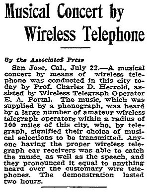Charles Herrold - Contemporary review of a July 22, 1912 broadcast.