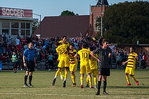 Midwestern State University - The Midwestern State University Mustangs celebrate after scoring a late-goal during the 2016 playoffs.