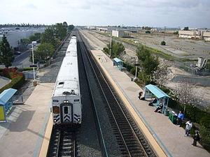 Irvine Transportation Center - A Metrolink train pulls in to Irvine, April 2008.
