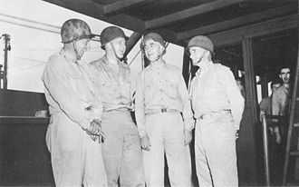Theodore Stark Wilkinson - Wilkinson, second from left, with Brigadier General Leonard F. Wing, Rear Admiral Richmond K. Turner, and Major General John H. Hester aboard Turner's flagship during the New Georgia Campaign.