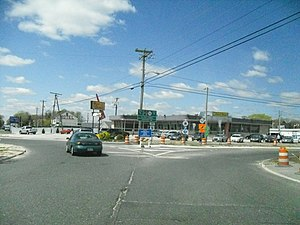 New Jersey Route 52 - Route 52 northbound leaving Somers Point Circle, since replaced with a signalized intersection.