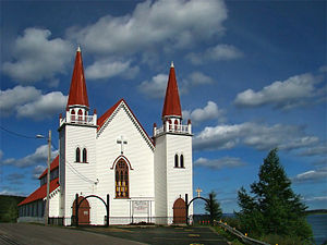 Spaniard's Bay - The Holy Redeemer Anglican Church overlooking Conception Bay