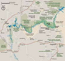 Map Of Arizona And Grand Canyon.Grand Canyon National Park Wikipedia