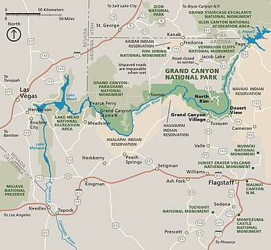 grand canyon np map Grand Canyon National Park Wikipedia grand canyon np map
