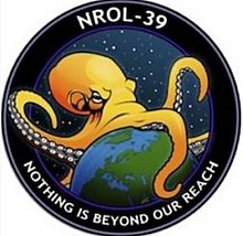 "A mission badge of an octopus spanning the world against a starry background, labelled ""NROL-39"" and ""Nothing is beyond our reach"""