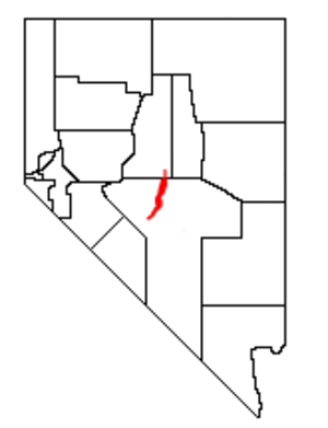 Toquima Range - Location of the Toquima Range within Nevada
