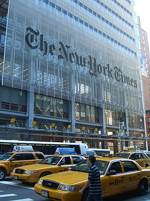 "Newspaper of record - The New York Times Building in New York City, United States; some meanings of the term ""newspaper of record"" originated in reference to The New York Times"