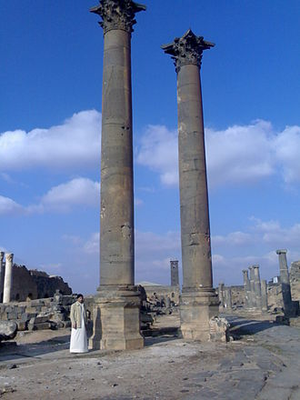 Nabataeans - Colossal Nabataean columns stand in Bosra, Syria