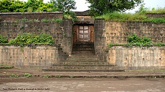 Nana Fadnavis - Rear entrance to Nana Phadanvis' house (Nana phadanvis wada) which is still preserved today in the same condition as when Nana built it in 1780. Location: Menawali near Wai in Satara district of Maharashtra.