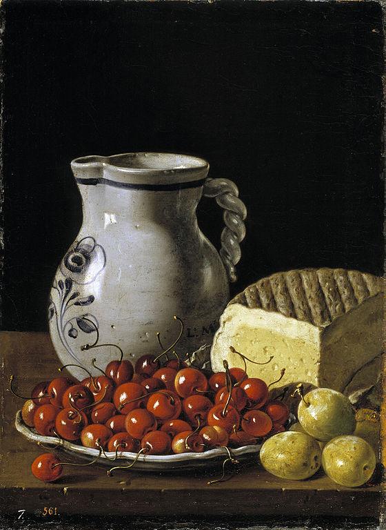 File:Natura morta amb cireres, prunes, formatge i gerra ...