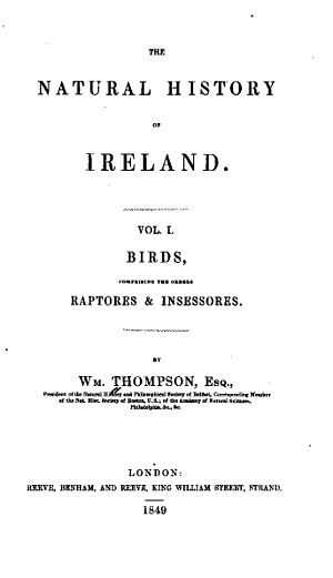 William Thompson (naturalist) - The Natural History of Ireland Volume 1 Frontis