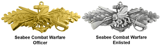 Seabee combat warfare specialist insignia - SCW insignia for officers and enlisted