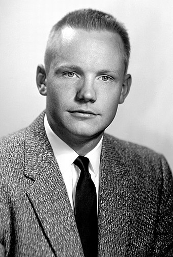 Armstrong, 26, as a test pilot at the NACA High-Speed Flight Station at Edwards AFB, California Neil Armstrong 1956 portrait.jpg