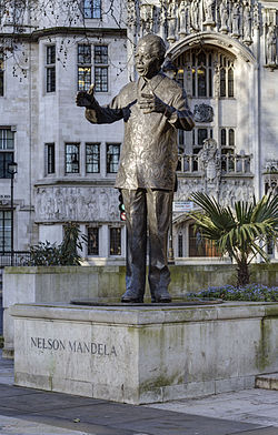 The statue of Nelson Mandela in Parliament Square