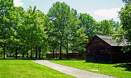 The reconstructed Temple at the New Windsor Cantonment State Historic Site, where the critical meeting took place on March 15, 1783 New Windsor Cantonment.jpg