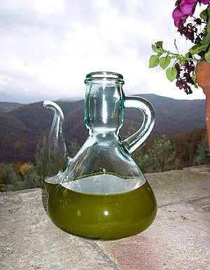 New olive oil, just pressed. It has a dense co...