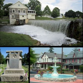 Newville, Pennsylvania - Top - Laughlin Mill, Bottom left - William Denning Monument, Bottom right - Newville Fountain Square