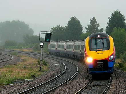 An East Midlands Trains service approaching Wellingborough on the Midland Main Line Next stop Wellingborough - geograph.org.uk - 1400370.jpg