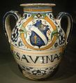 Ngv, maiolica di montelupo, contenitore da farmacia per savina, 1520 circa.JPG