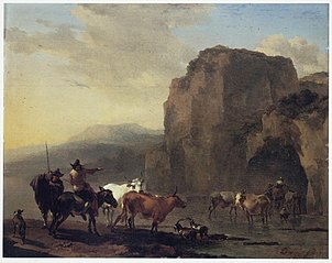 Italianate Landscape with Herd crossing a River