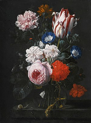 Nicolaes van Verendael - Flowers in a glass vase, on a stone ledge