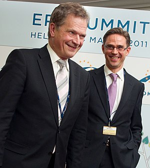 European People's Party - Sauli Niinistö and Jyrki Katainen at an EPP summit in Helsinki