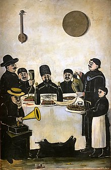 Niko Pirosmani. The feast of Tbilisian merchants accompanied by the gramophone (31635676573).jpg