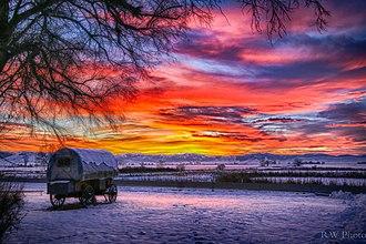 Ninepipe National Wildlife Refuge - Covered wagon at sunset