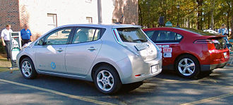 Plug-in electric vehicle - Image: Nissan Leaf & Chevy Volt charging trimmed