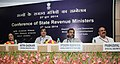 Nitin Gadkari at the Conference of State Revenue Ministers, in New Delhi on June 27, 2014. The Minister of State for Rural Development, Panchayati Raj, Drinking Water and Sanitation, Shri Upendra Kushwaha is also seen.jpg