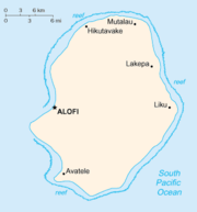 Location of Alofi on a map of Niue.