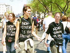 Nonviolent resistance - Pro-nonviolence protesters at an anti-globalization protest