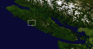 Nootka Sound - Nootka Sound, marked by a red square on a NASA map of Vancouver Island