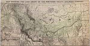Northern Pacific Railway - Map of NPR Land Grant, c1890