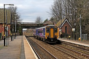 Hough Green railway station - Image: Northern Rail Class 156, 156483, Hough Green railway station (geograph 3819589)
