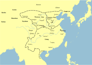 Second Chinese domination of Vietnam - Map of the Liang dynasty in 502