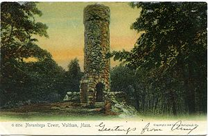 Norumbega Tower - A postcard with art depicting the Norumbega Tower