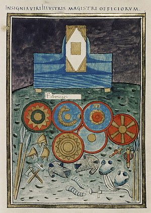 Magister officiorum - The insignia of the Eastern magister officiorum as displayed in the Notitia Dignitatum: the codicil of his office on a stand, shields with the emblems of the Scholae regiments, and assorted arms and armour attesting the office's control of the imperial arsenals.
