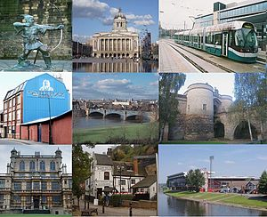 From top left: Robin Hood, Council House, NET Tram, (middle) Trent Bridge, the Castle Gate House, Wollaton Hall, Ye Olde Trip to Jerusalem and Nottingham Forest City Ground