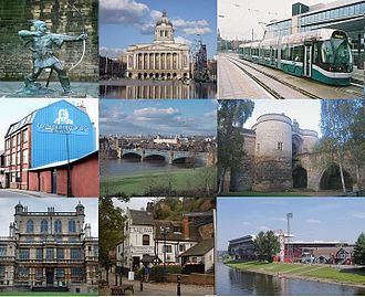 Nottingham - From top left: Robin Hood, Council House, NET Tram, Castle Rock Brewery, Trent Bridge, the Castle Gate House, Wollaton Hall, Ye Olde Trip to Jerusalem and Nottingham Forest's City Ground