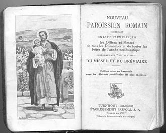 Roman Missal - A French prayerbook of 1905 containing extracts from the Roman Missal and the Roman Breviary of the time with French translations