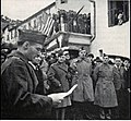 November 28, 1944. Joseph W. Welsh reads the proclamation renaming the plaza in Puget-Thénier in honor of Isabel Pell as Miss Pell looks on. (From the collection of Joseph W. Welsh).jpg