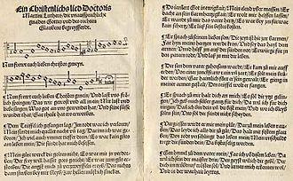 """First Lutheran hymnal - """"Nun frewt euch, lieben Christen gmein"""""""