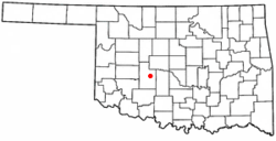 Location of Gracemont, Oklahoma