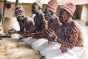 Obatala - Praying Obatala priests in their temple in Ile-Ife
