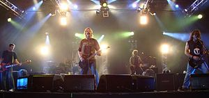 The Offspring performing in 2008 in Fortaleza, Brazil Pictured: Greg K., Pete Parada, Dexter Holland, Andrew Freeman and Noodles